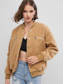 Zippered Snap Button Pockets Teddy Jacket - Brown S