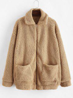 ZAFUL X Yasmine Bateman Pocket Zipper Drop Shoulder Fluffy Teddy Coat - Brown Sugar M