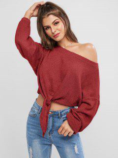 ZAFUL Self-tie Oversized Sweater - Cherry Red S