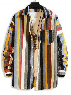 Colorful Striped Pockets Drop Shoulder Corduroy Shirt - Multi-b M