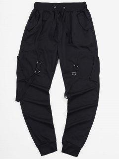 Ribbon Pockets Long Elastic Sport Cargo Pants - Black 3xl