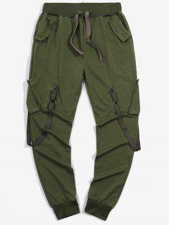 Pantalon Cargo De Sport Elastique Long Ruban Avec Poches - Vert Armée  2xl