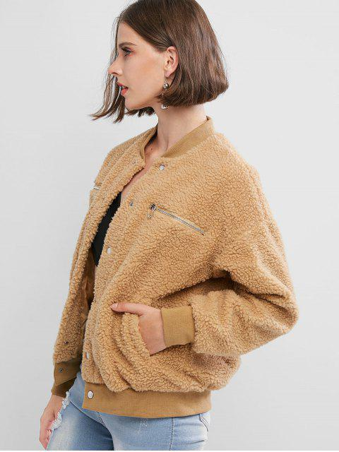 hot Zippered Snap Button Pockets Teddy Jacket - BROWN L Mobile
