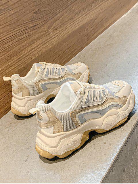 sale Colorblock Pinhole Mesh Platform Dad Sneakers - CAMEL BROWN EU 36 Mobile