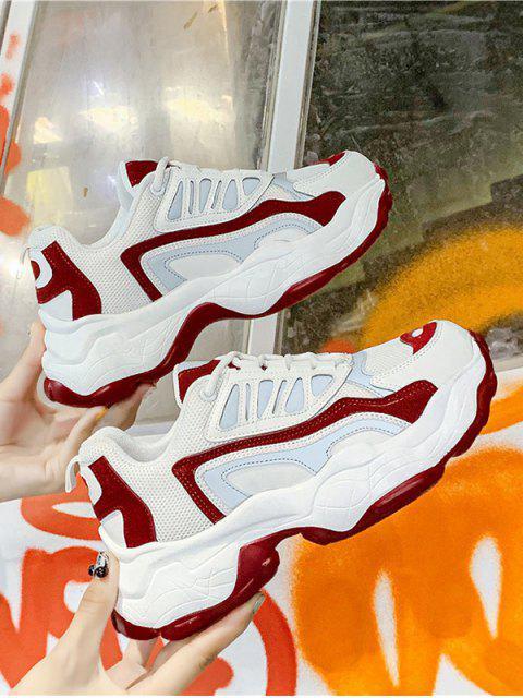 womens Colorblock Pinhole Mesh Platform Dad Sneakers - RED EU 40 Mobile
