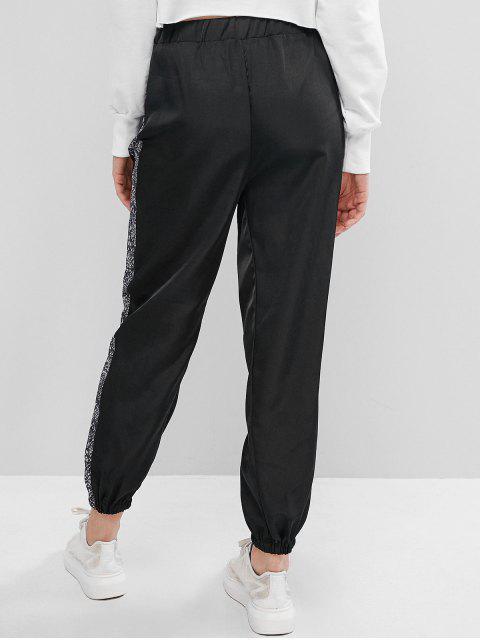 trendy High Waisted Snake Print Jogger Pants - BLACK S Mobile
