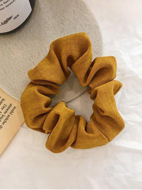 trendy Plaid Pattern Vintage Fabric Scrunchy - BRIGHT YELLOW  Mobile
