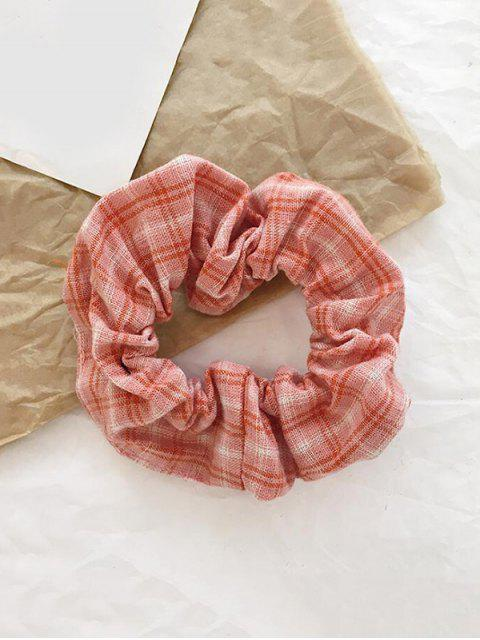 women's College Plaid Fabric Elastic Scrunchy - PINK  Mobile