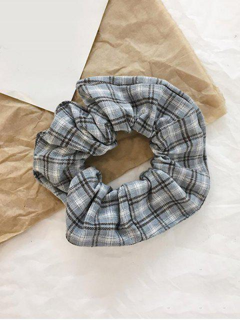 best College Plaid Fabric Elastic Scrunchy - GRAY  Mobile