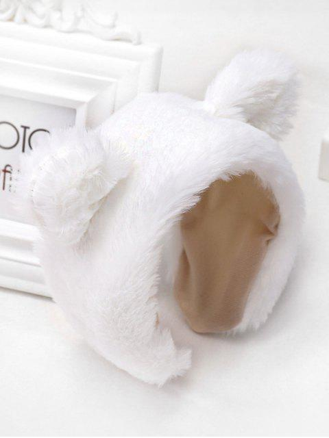 chic Faux Fur Animal Ear Wide Hairband - WHITE  Mobile