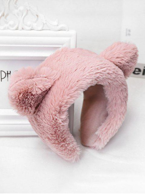 lady Faux Fur Animal Ear Wide Hairband - PINK  Mobile