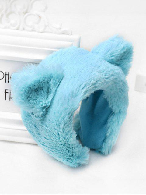 hot Faux Fur Animal Ear Wide Hairband - BLUE  Mobile