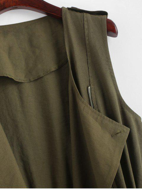 outfits ZAFUL Drawstring Buttoned Tabs Zip Up Longline Waistcoat - ARMY GREEN XL Mobile