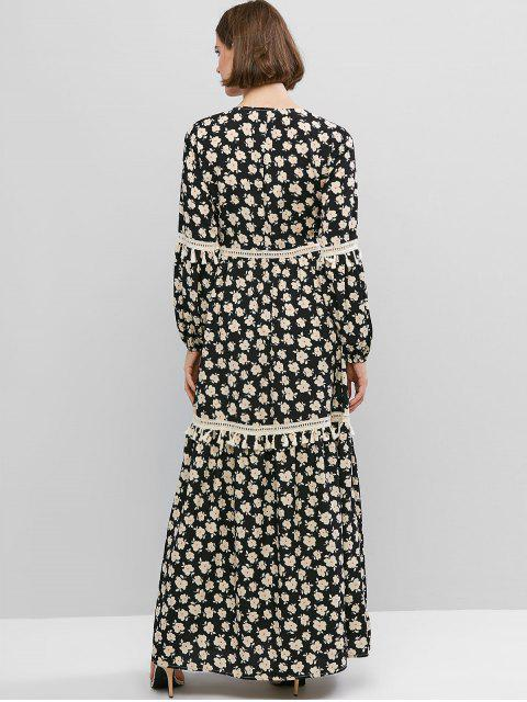 Vestido largo con botones de croché y manga de linterna de ZAFUL - Negro XS Mobile