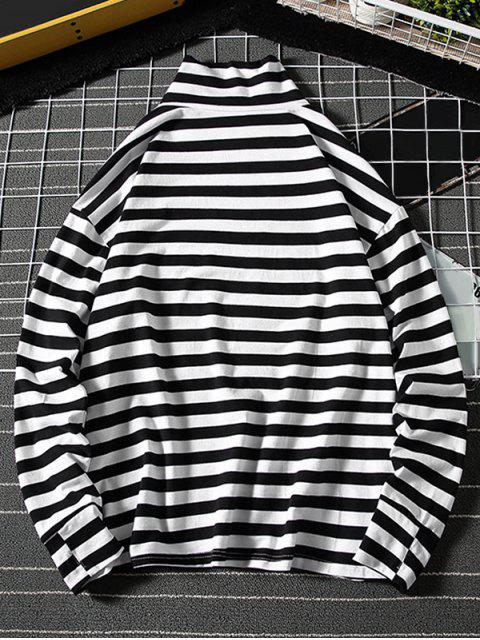 affordable Colorblock Stripes Letter Graphic High Collar T-shirt - WHITE 4XL Mobile