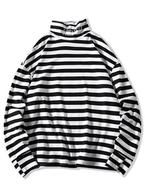 Colorblock Stripes Letter Graphic camiseta de cuello alto - Blanco XL Mobile