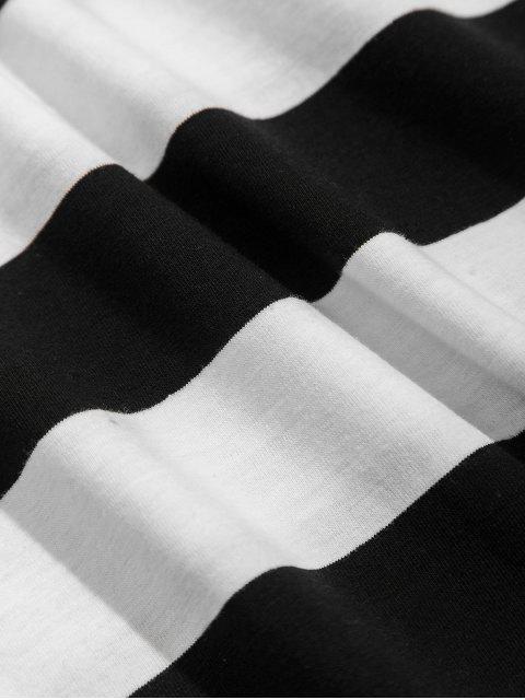 Manga colorblock de rayas bolsillo en el pecho de la camiseta larga - Blanco M Mobile
