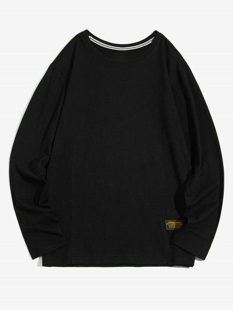 Apliques color sólido cuello redondo Camiseta básica - Negro S Mobile