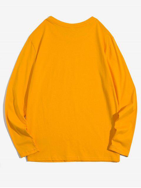 Apliques color sólido cuello redondo Camiseta básica - Amarillo L Mobile