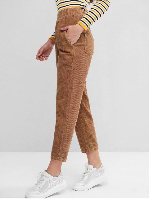Cintura elástica Bolsillos pana pantalones rectos - Caqui M Mobile