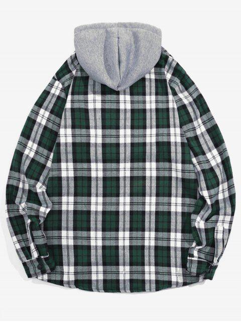 affordable Checked Print Pockets Button Up Hooded Shirt - GREEN M Mobile