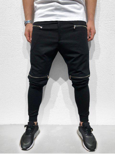 trendy Zipper Pleated Long Solid Sport Jogger Pants - BLACK S Mobile