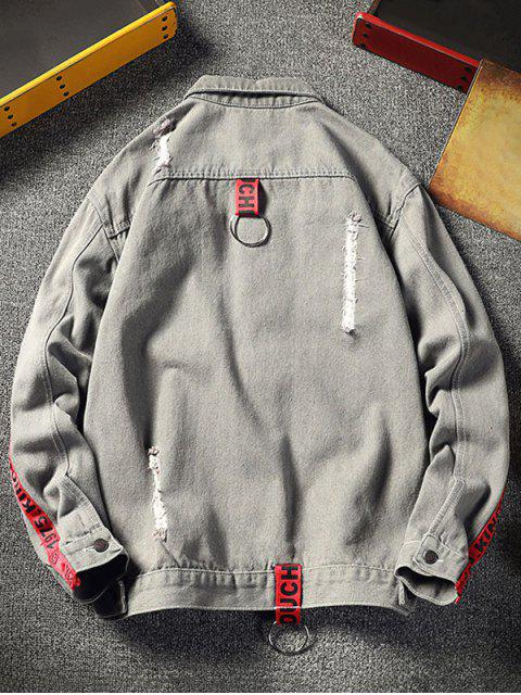 buy Distressed Contrast Letter Stripe Stitching Pocket Ripped Jean Jacket - BATTLESHIP GRAY XS Mobile