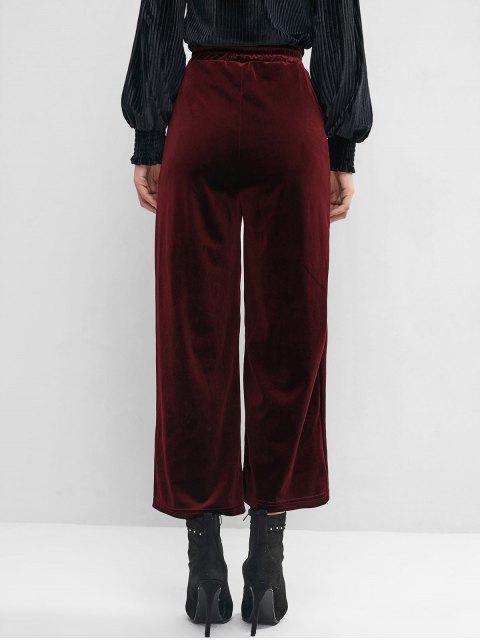 Terciopelo del lazo del bolsillo de los pantalones de pierna ancha - Vino Tinto S Mobile