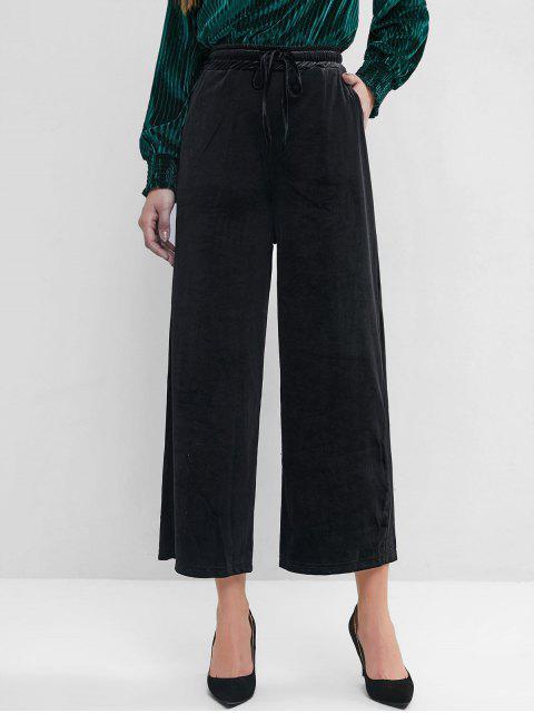 Terciopelo del lazo del bolsillo de los pantalones de pierna ancha - Negro 2XL Mobile