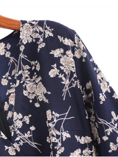 women's Floral Print Belted Surplice A Line Dress - MULTI XL Mobile