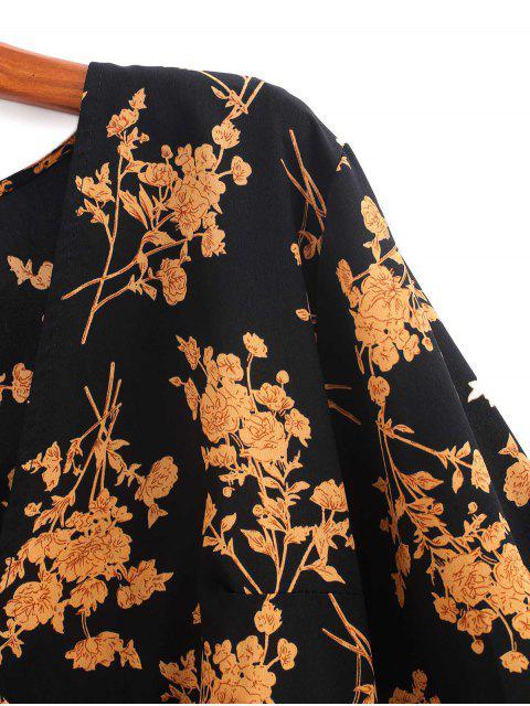 Impresión floral con cinturón Sobrepelliz la línea vestido - Multicolor-V S Mobile