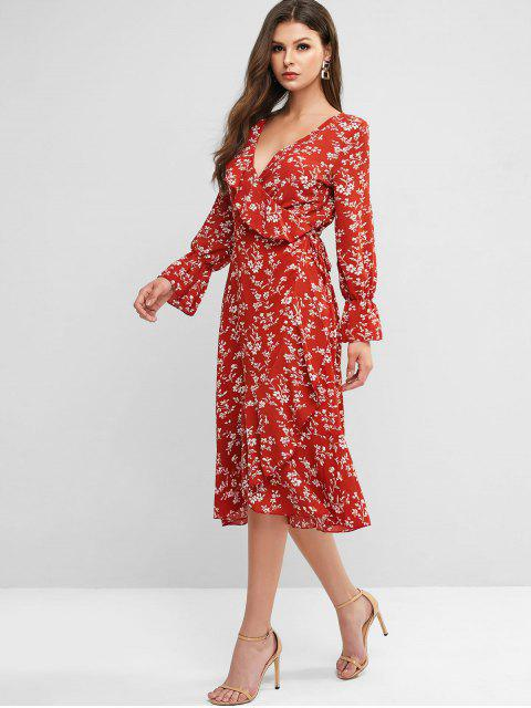 women's Poet Sleeve Ditsy Floral Ruffles Wrap Dress - VALENTINE RED L Mobile