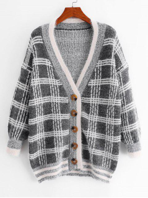 trendy Plaid Drop Shoulder Plunge Fuzzy Knit Cardigan - MULTI-D ONE SIZE Mobile