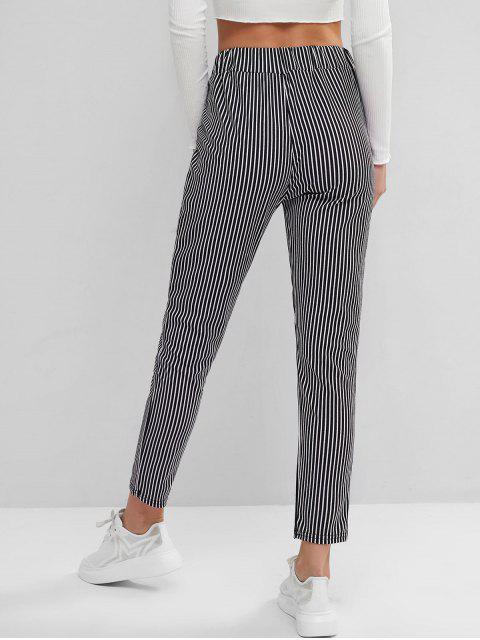 Talle alto rayas pantalones de los bolsillos rectos - Multicolor-A XL Mobile