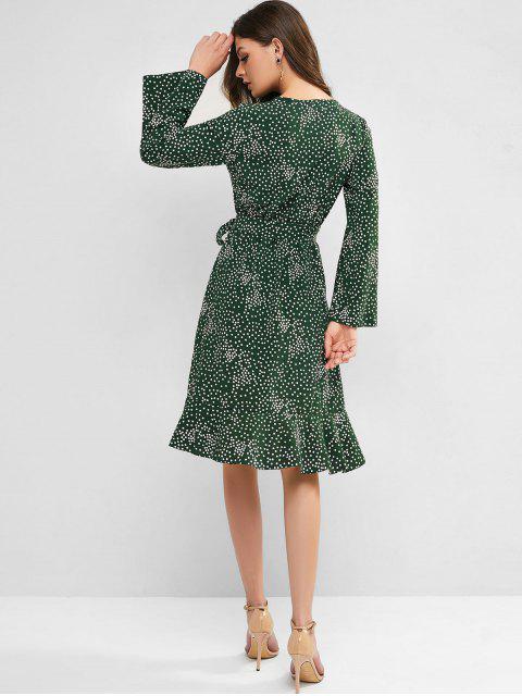 Robe Ceinturée Manhces Longues à Pois à Volants - Vert profond L Mobile