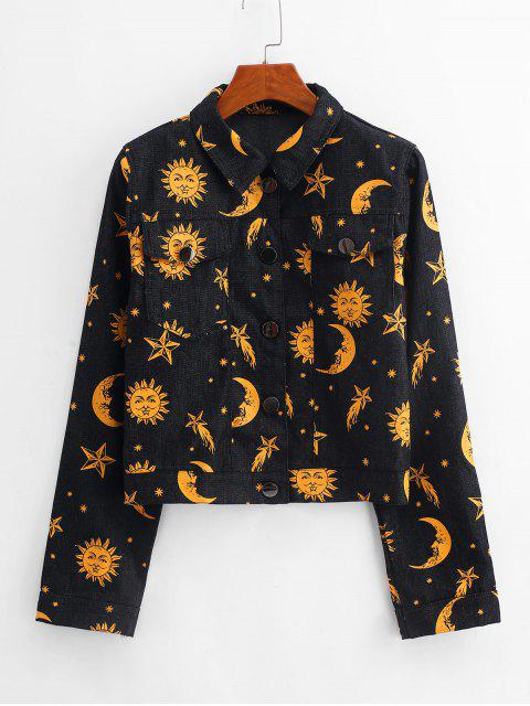 new Button Up Star Sun And Moon Denim Jacket - BLACK M Mobile