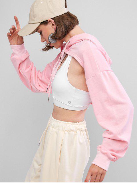 ladies Open Bust High Low Drop Shoulder Hoodie - PINK L Mobile