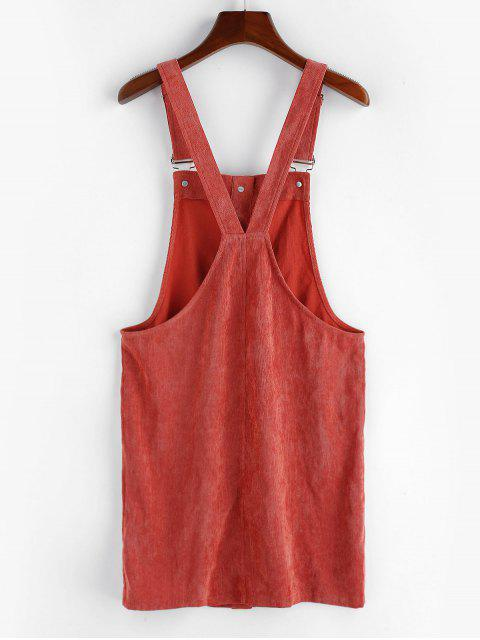 outfit ZAFUL Corduroy Pocket Button Front Overall Dress - CHESTNUT RED M Mobile