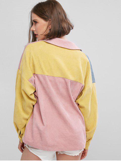 affordable ZAFUL Colorblock Corduroy Shirt - MULTI-A L Mobile