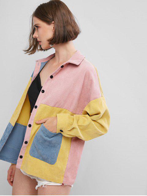 womens ZAFUL Colorblock Corduroy Shirt - MULTI-A M Mobile