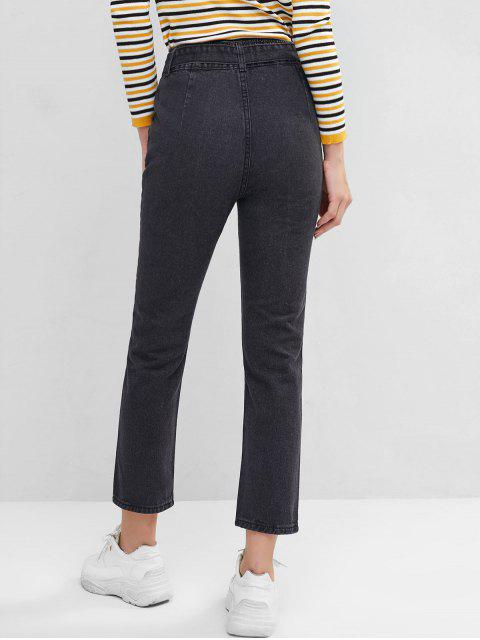 women High Waisted Belted Pockets Straight Jeans - BLACK XS Mobile