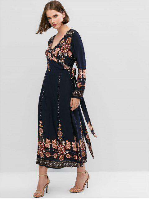 shops ZAFUL Flower Print Long Sleeve Knotted Wrap Dress - CADETBLUE XL Mobile