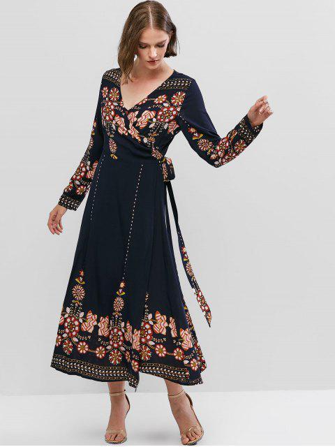 best ZAFUL Flower Print Long Sleeve Knotted Wrap Dress - CADETBLUE L Mobile