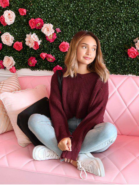 shops ZAFUL x Alexis Ricecakes Drop Shoulder Oversized Crop Sweater - RED WINE M Mobile
