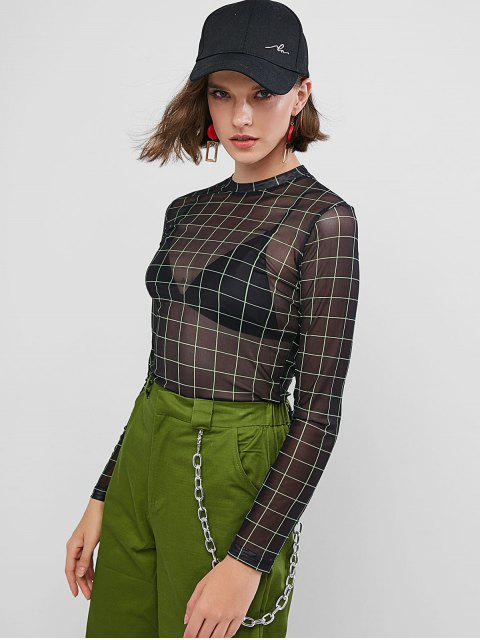 latest Grid Mesh Long Sleeve T-shirt - BLACK S Mobile