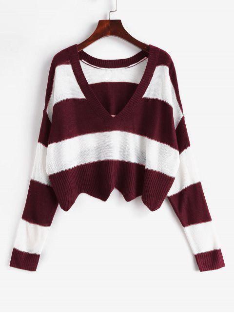 women's ZAFUL x Alexis Ricecakes Two Tone Striped Plunge Drop Shoulder Sweater - MULTI-B S Mobile