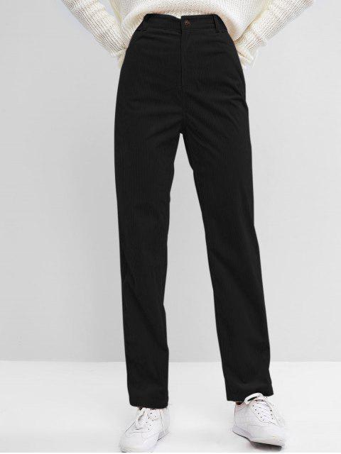 latest ZAFUL High Waisted Corduroy Pants - BLACK S Mobile