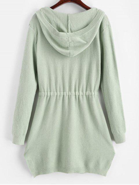 new Longline Hooded Drawstring Pockets Cardigan - GREEN ONE SIZE Mobile