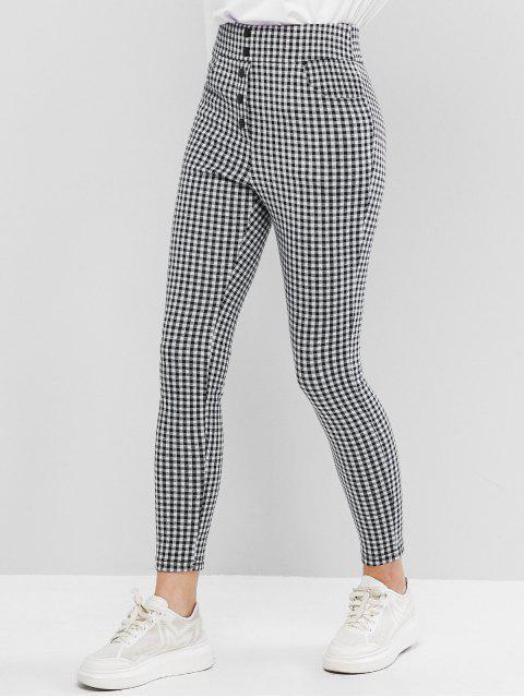 ZAFUL tela escocesa de Impresión frontal Pantalones Botón Lápiz - Multicolor-A M Mobile
