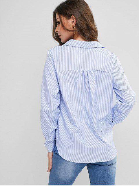 ladies ZAFUL Striped Crossover Surplice Tassel Tied Blouse - DAY SKY BLUE XL Mobile